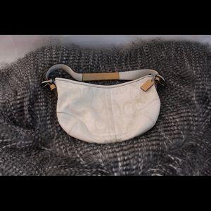 White coach wrist bag
